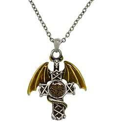 CGC Pewter Men's Warrior Dragon Celtic Cross Necklace