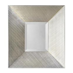 Bright Silver Leaf Mirror with Crosshatched Effect