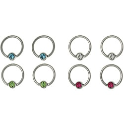 CGC Stainless Steel Gem Ball Captive Rings (Set of 4)