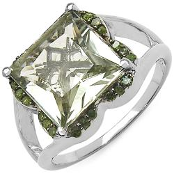 Malaika Sterling Silver Green Amethyst and 1/5ct TDW Green Diamond Ring
