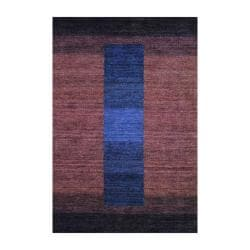 Hand-Knotted Indo Tibetan Striped Brown Wool Rug (4' x 6')