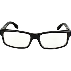 Unisex 470 Black Rectangle Frame Fashion Sunglasses with Clear Lens