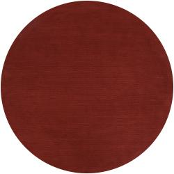 Hand-crafted Rust Red Solid Casual Diplo Wool Rug (8' Round)