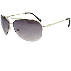 Silver Semi-rimless Aviator Sunglasses with Purple-black Lenses