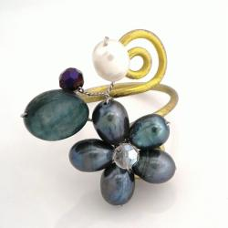 Black Freshwater Pearl Free-Size Brass Ring (Thailand)