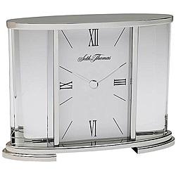 Seth Thomas Silver Glass Carriage Table Clock
