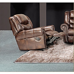 Godfather Brown Bonded Leather Rocker Reclining Chair & Leather Recliners Chair Leather Reclining Comfort Chairs furniture islam-shia.org