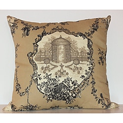 Garden Pleasure 22-inch Square Charcoal Toile Decorative Pillow