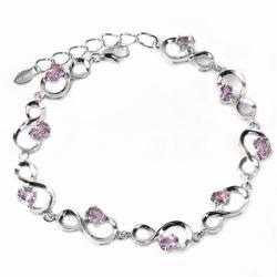 De Buman Sterling Silver Amethyst Bracelet 8921355