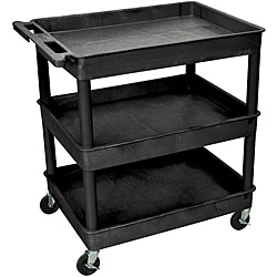 Offex 3 Shelf Tub Utility Cart 32 W x 24 D Black