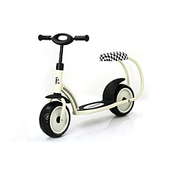 Traxx 'Besta' Cream-white Padded-seat Scooter with Rear-fender Brake