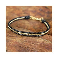 Leather 'Golden Night' Gold Overlay Beaded Bracelet (Thailand)