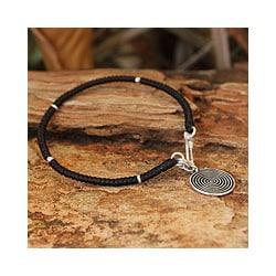 Silver Accent 'Spiral Sun' Charm Bracelet (Thailand)