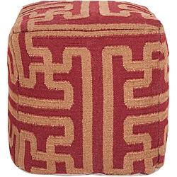 Decorative Argyle Maroon Pouf