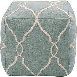 Decorative Arabesque Blue Pouf