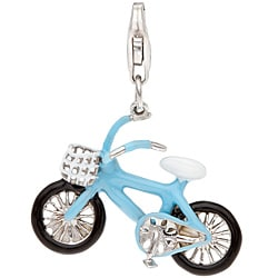 Sterling Silver White and Blue Enamel Bicycle Charm