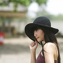 Cotton Crochet Summer Hat Black (Indonesia)
