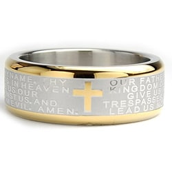 Oliveti Goldplated Stainless Steel Lord's Prayer Ring (8 mm) 8940983