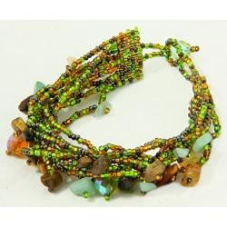 Multi-Strand Czech Green/Brown Beaded Bracelet (Guatemala)