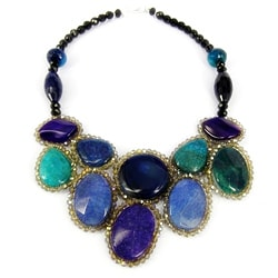 Round Purple/ Blue Agate Mosaic Bib Statement Necklace (Thailand)