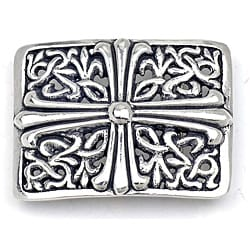 Pewter Silver Cross Design Rectangular Buckle