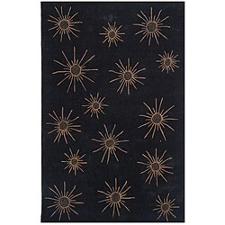 Dynasty Hand-tufted Black/ Tan Rug (9'6 x 13'6)