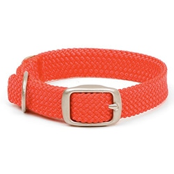 Double-Braided Junior Collar 9/16-inch Wide up to 14-inch - Red With Brushed Nickel Hardware