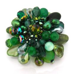 Green Blossoming Lotus Aventurine Stone Floral Pin/Brooch (Thailand)