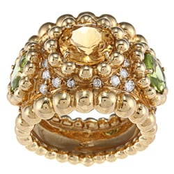 Pre-owned 18k Gold Topaz, Peridot and 1 1/4ct TDW Diamond Estate Ring (E-F, VS1-VS2)