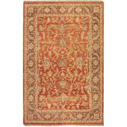 Hand-knotted Red Syphon Wool Rug (8' x 11')