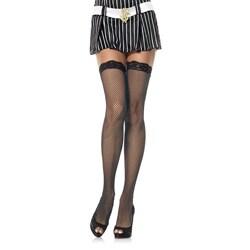 Leg Avenue Women's Black Lace-top Fishnet Stockings