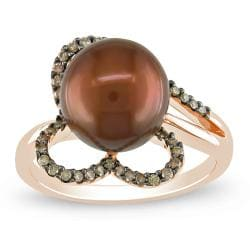Miadora 14k Pink Gold Chocolate Pearl and 1/5ct TDW Brown Diamond Ring