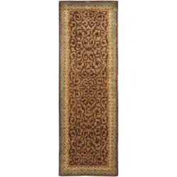 Safavieh Handmade French Aubusson Brown/ Blue Premium Wool Rug (2'6 x 10')