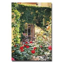 Medium-Size David Lloyd Glover 'Afternoon in the Rose Garden' Canvas Art