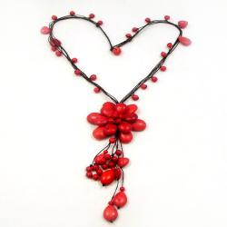 Floral Red Coral Stone Necklace (Thailand)