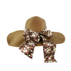 Faddism Women's Brown Bowed Straw Sun Hat