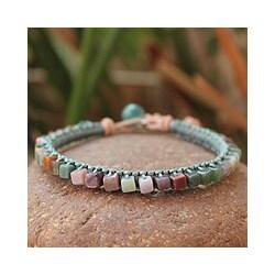 Handmade Jasper 'Cubic Pastels' Beaded Bracelet (Thailand) 8983785