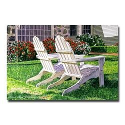David Lloyd Glover 'White Chairs on Carmelina' Canvas Art