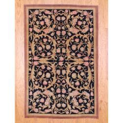 Indo Hand-knotted Tibetan Black/ Brown Wool Rug (5'5 x 8'5)
