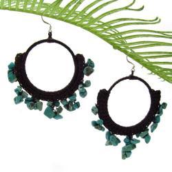 Blue Turquoise Stone Chandelier Hoop Earrings (Thailand)