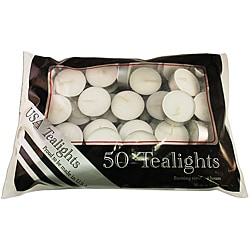 USA White Unscented Tealight Candles (Pack of 50) 9000648