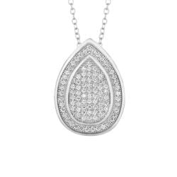 Sterling Silver Micro-set CZ Teardrop Pendant with Chain
