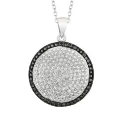 Sterling Silver Micro-set CZ Round Pendant with Chain