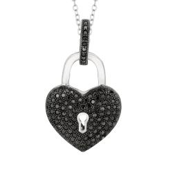 Sterling Silver Micro-set CZ Heart with Hole and Dangle Key Pendant with Chain