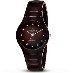 Skagen Women's Japanese Quartz Brown Ceramic Watch