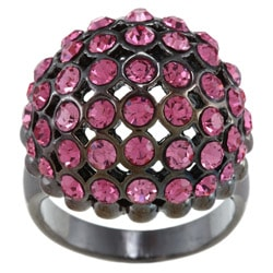 City by City Black-plated Rose Crystal Ball Ring