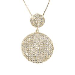 14k Gold over Silver Clear Cubic Zirconia Cascade Circle Necklace