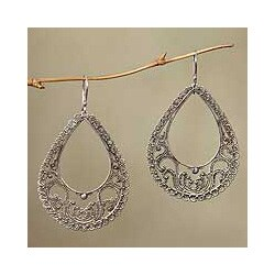 Sterling Silver 'Precious Moments' Dangle Earrings (Indonesia)
