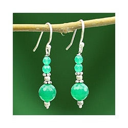 Sterling Silver 'Green Dreams' Onyx Earrings (India)