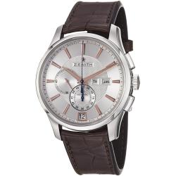 Zenith Men's 03.2070.4054/02.C711 'Class Winsor' Silver Dial Brown Strap Chronograph Watch
